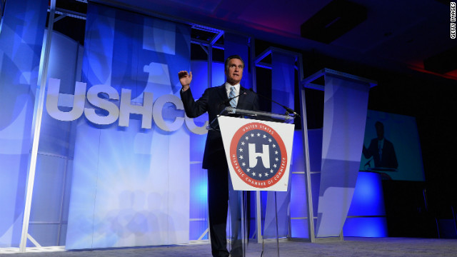 Mitt Romney addresses the U.S. Hispanic Chamber of Commerce's national convention on September 17 in Los Angeles