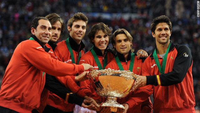 Team captain Albert Costa, Feliciano Lopez, Marcel Granollers, Rafael Nadal, David Ferrer and Fernando Verdasco celebrate.