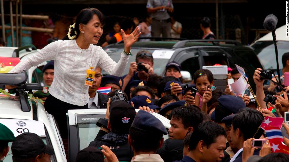 Suu Kyi visits the Mae La refugee camp on June 2, 2015 in the western province of Tak, Thailand. The camp, situated along the Myanmar-Thailand border, is home to around 45,000 Karen people, an ethnic minority in Myanmar.