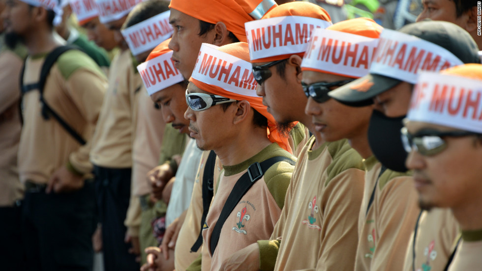 Members of Justice and Prosperous Party attend a protest outside the U.S. Embassy in Jakarta, Indonesia, on Wednesday.