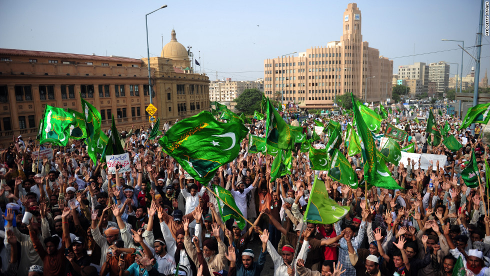 Pakistani Muslims shout anti-U.S. slogans during a protest against an anti-Islam movie in Karachi on Wednesday. The Pakistan government has declared Friday a national holiday in honor of the Prophet Mohammed and called for peaceful protests against the film.