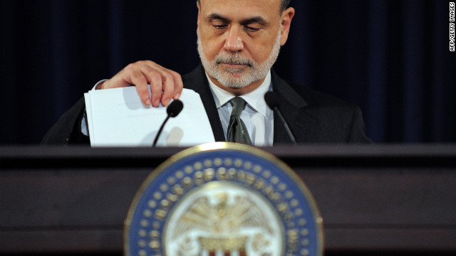 "US Federal Reserve chief Ben Bernanke speaks at a news conference in Washington, DC, on September 13, 2012 following a two-day Federal Open Market Committee meeting. Bernanke said that the country's unemployment situation ""remains a grave concern"" while speaking after the Fed cut its growth projections for 2012 and announced fresh monetary easing efforts aimed at pushing down long-term interest rates to encourage investment and hiring. AFP PHOTO/Jewel Samad        (Photo credit should read JEWEL SAMAD/AFP/GettyImages)"
