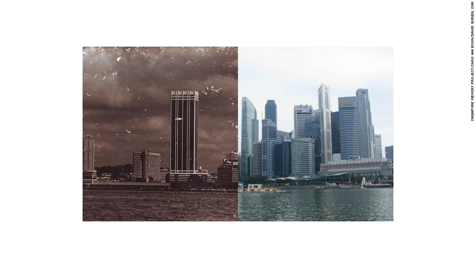 A view of Singapore's waterfront district in 1970, compared with the way it looks today.