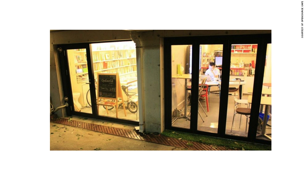 This space, which includes a small library, was converted from garages.