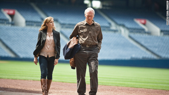 "Amy Adams and Clint Eastwood team up as daughter and father in ""Trouble With the Curve,"" a sentimental baseball film."