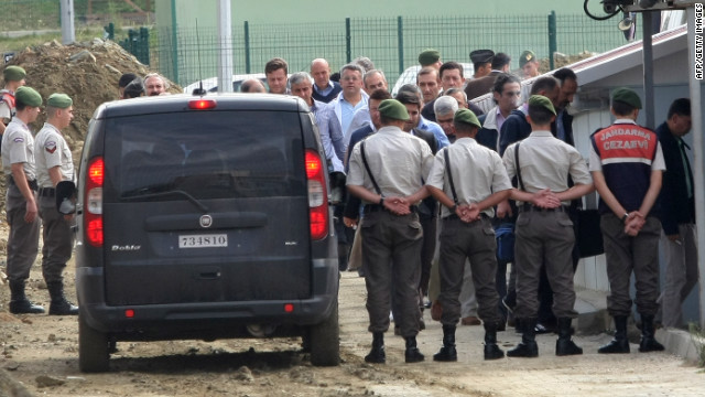Turkish soldiers, under pretrial detention, arrive Friday at court in Silivri, near Istanbul.