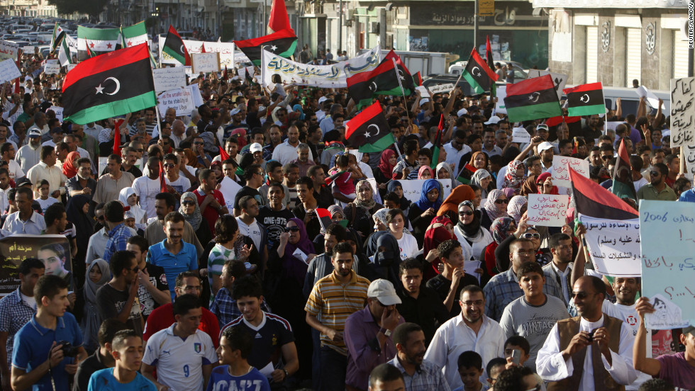 Protesters take part in a march in Benghazi, Libya, on Friday. The march was in support of democracy and against the Islamist militias that Washington blames for an attack on the U.S. consulate last week that killed four Americans including the ambassador.