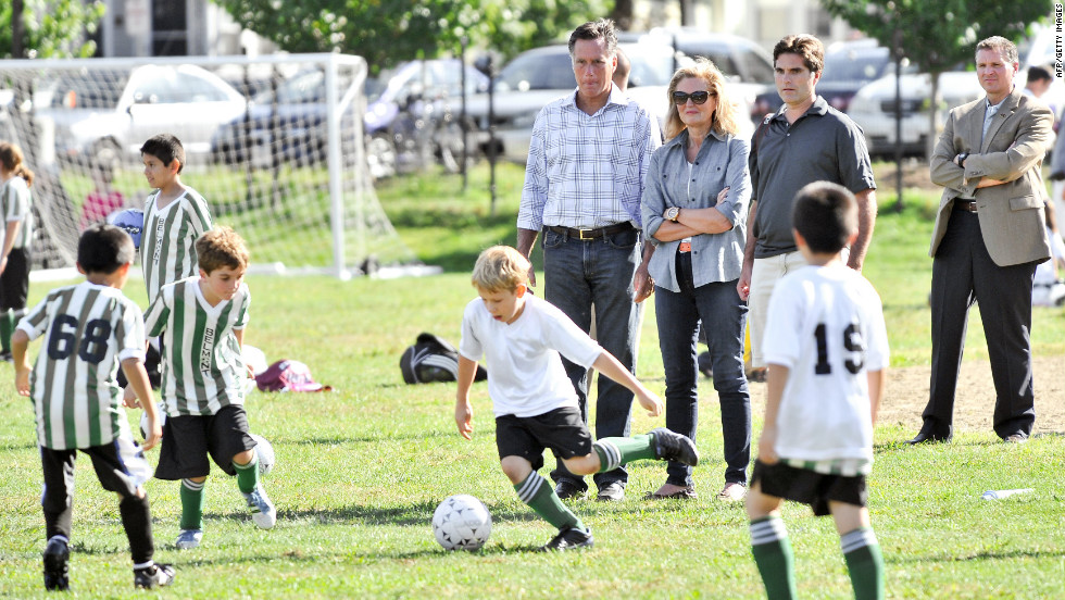 From left to right: Romney, his wife Ann, and son Tagg watch one of Tagg's sons play soccer in Belmont, Massachusetts, on Saturday, September 15.