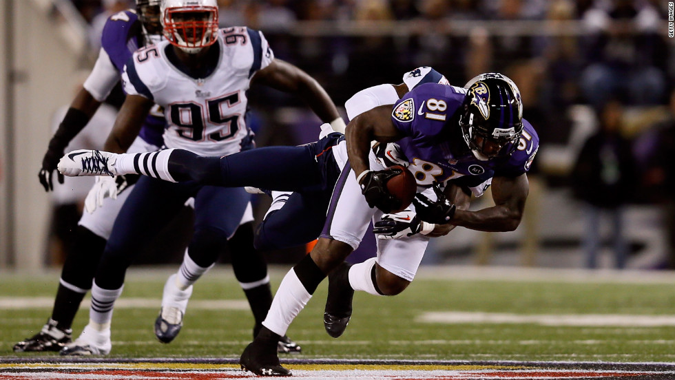 Anquan Boldin of the Ravens catches a pass.