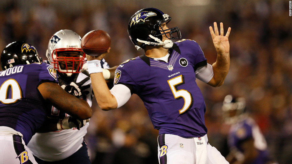 Ravens quarterback Joe Flacco throws a pass against the Patriots.