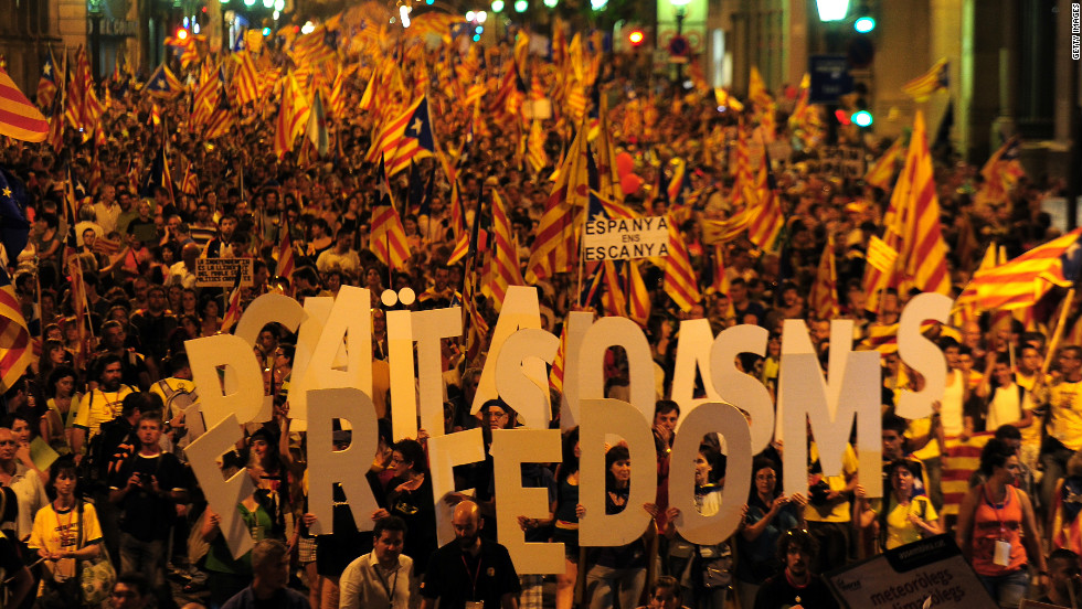 Supporters of independence for Catalonia demonstrate on September 11, 2012 in Barcelona to mark the Spanish region's official day, amid protests over Spain's financial crisis.