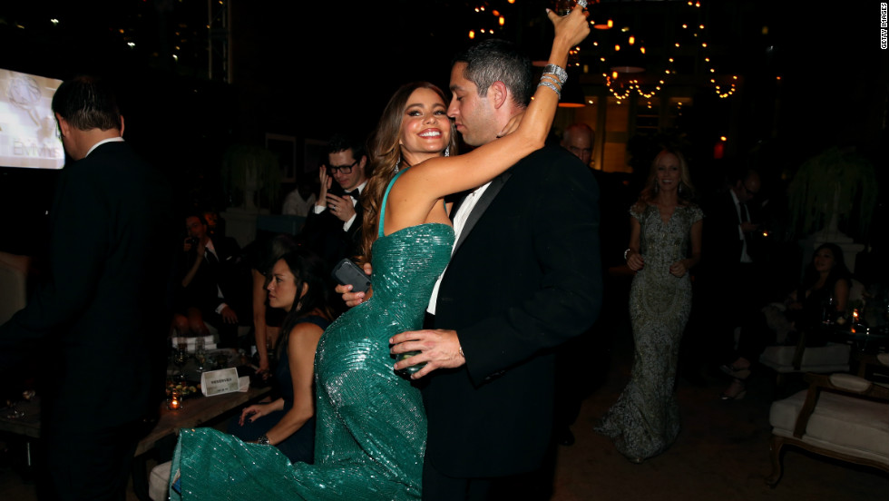 "<a href=""http://www.tmz.com/2012/09/24/sofia-vergara-emmy-party-dancing-ass-shaking/"" target=""_blank"">TMZ posted a video</a> of Vergara dancing solo, but it looks like she might have also stepped out on the dance floor with her <a href=""http://marquee.blogs.cnn.com/2012/08/02/sofia-vergaras-proposal-caught-on-tape/?iref=allsearch"" target=""_blank"">rumored fiance Nick Loeb</a>."