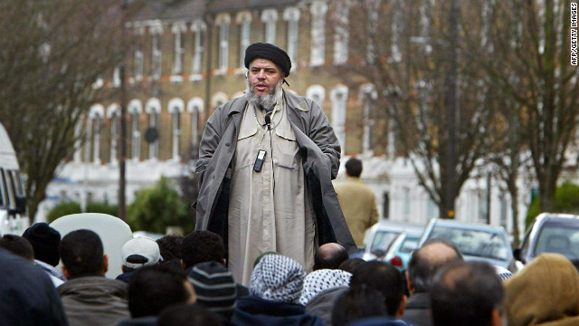 Radical preacher Abu Hamza al-Masri, pictured here in London in 2004, has been found guilty on terror charges.