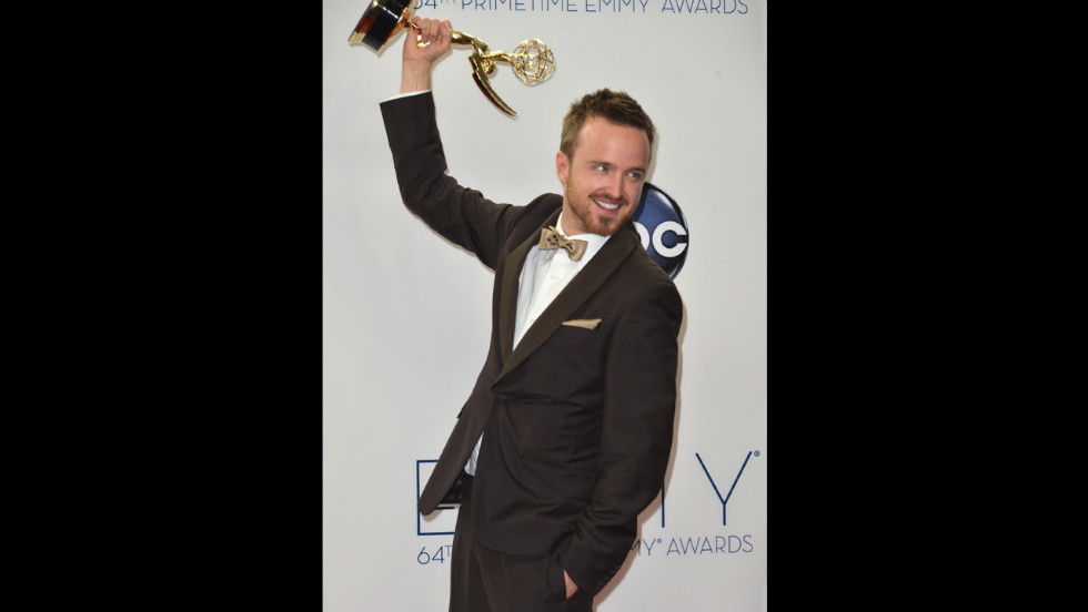 "Aaron Paul of ""Breaking Bad"" shows off his Emmy for best supporting actor in a drama."