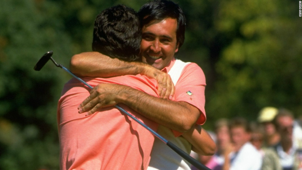 Severiano Ballestereros hugs his youthful Spanish compatriot Jose Maria Olazabal as their incredible partnership got underway during the 1987 match at Muirfield Village.