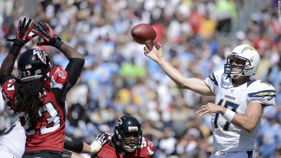 Philip Rivers of the San Diego Chargers throws in the game against the Atlanta Falcons in San Diego.