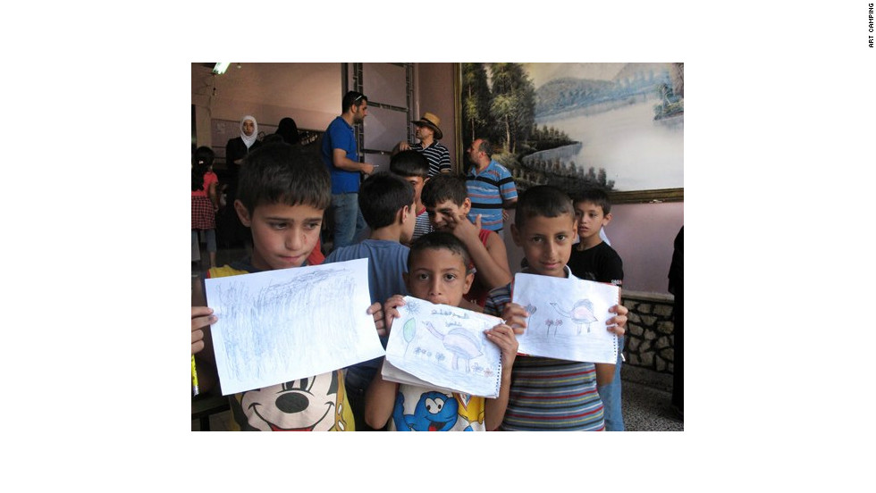 Refugee children taking part in an Art Camping workshop in Aleppo. Touma started in March as a peaceful response to the civil war and to bring culture to refugees who have crowded into city center.