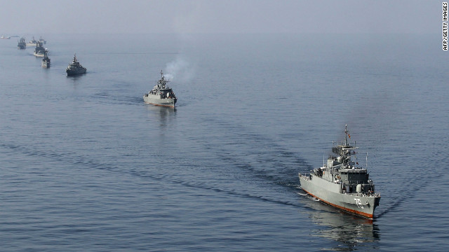 Iranian Navy boats take part in maneuvers during the 'Velayat-90' navy exercises in the Strait of Hormuz in southern Iran on January 3, 2012, the End day of ten-day war games. Iran's military warned one of the US navy's biggest aircraft carriers to keep away from the Gulf, in an escalating showdown over Tehran's nuclear drive that could pitch into armed confrontation. AFP PHOTO/JAMEJAMONLINE/EBRAHIM NOROOZI (Photo credit should read EBRAHIM NOROOZI/AFP/Getty Images)