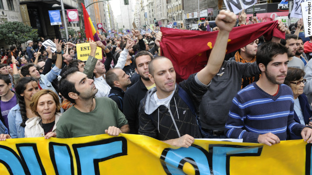 Organized by 'indignant' protesters, people took to the streets to decry an economic crisis.