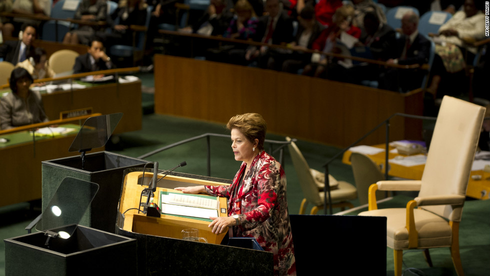 Brazilian President Dilma Vana Rousseff delivers her address to the General Assembly on Tuesday.