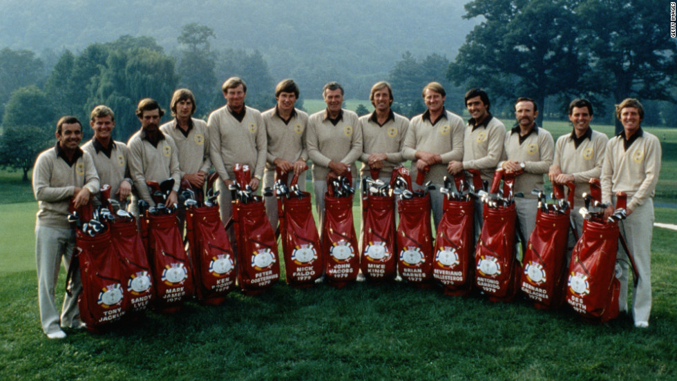 For the first time ever, the 1979 Ryder Cup found two Spaniards - Ballesteros and  Antonio Garrido (4th and 3rd from right) - joining players from Great Britain and Ireland in competing against the United States. The match took place in West Virginia, where the home side triumphed again.