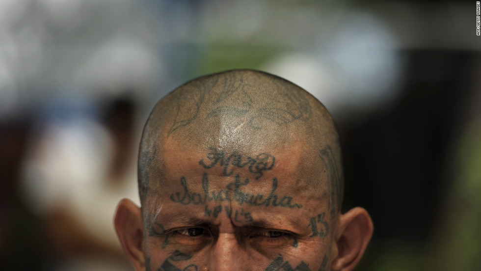 Carlos Tiberio Valladares, leader of the Mara Salvatrucha gang, attends a press conference Monday at the women's jail in San Salvador, El Salvador. The leaders of the Mara 18 and Salvatrucha gangs celebrated the 200th day of their truce.