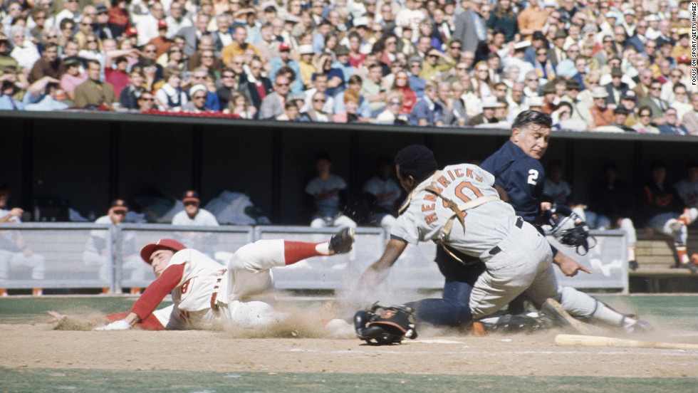 Baltimore Orioles catcher Elrod Hendricks tagged sliding Cincinnati runner Bernie Carbo with an empty glove in a 1970 World Series game, but umpire Ken Burkhart — who had his back to the play — called Carbo out. (By the way, Carbo also missed the plate.)