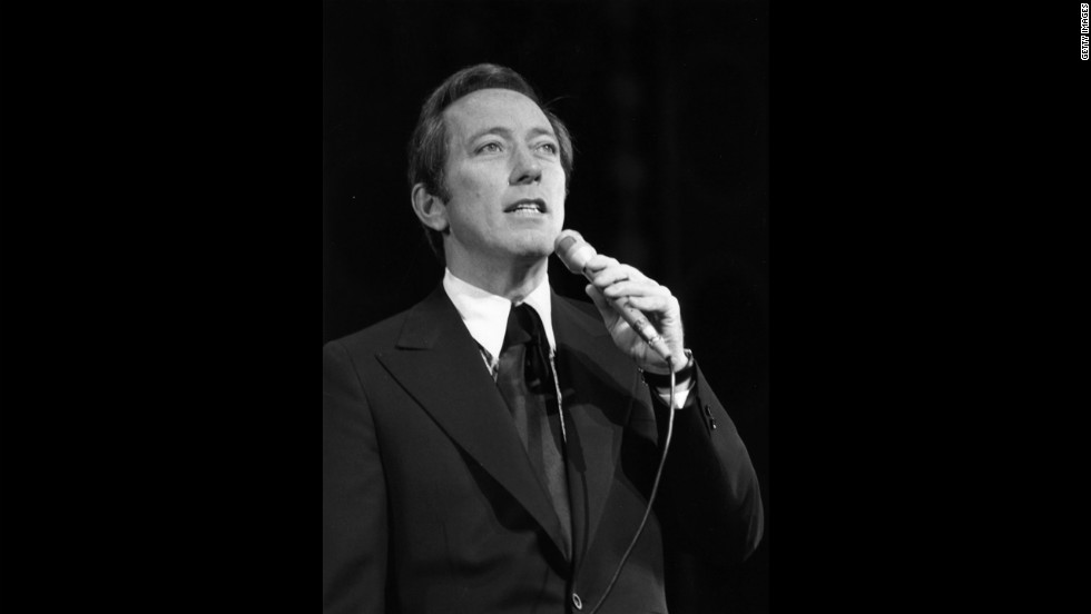 "Williams rehearses at the London Palladium before a Royal Variety Performance in 1970. The smooth-voiced crooner was known for such classics as ""Moon River."""