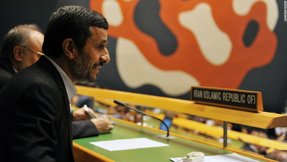 Mahmoud Ahmadinejad, president of Iran, takes a seat with his delegation on Wednesday, September 26, in New York.