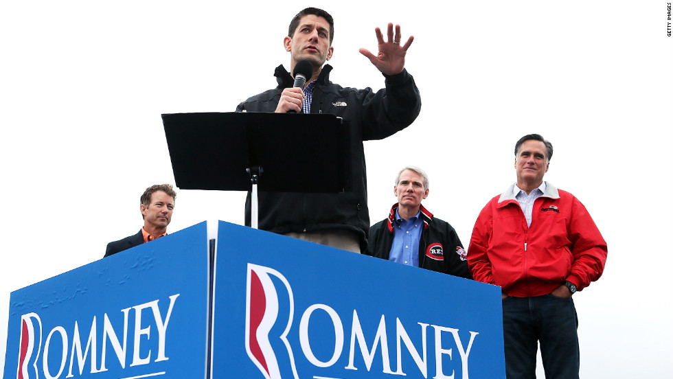 Ryan speaks Tuesday in Vandalia as Sen. Rand Paul, from left, Sen. Rob Portman and Romney listen.