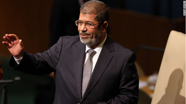 Egypt's Mohammed Morsy walks to the podium for his address to world leaders at the United Nations on Wednesday.