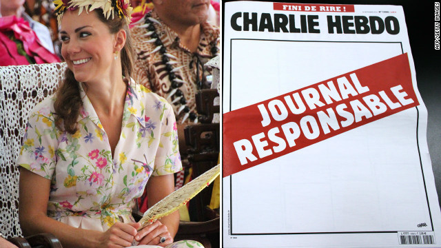 "Pictured is Catherine, UK's Duchess of Cambridge, and a blank cover of Charlie Hebdo with ""Responsible Newspaper"" on red."