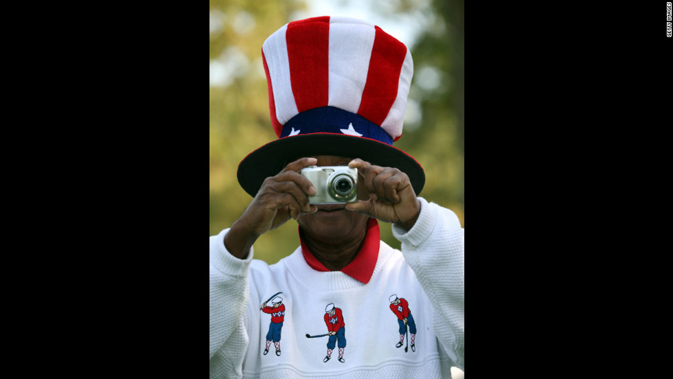 A U.S. fan takes photos Wednesday.