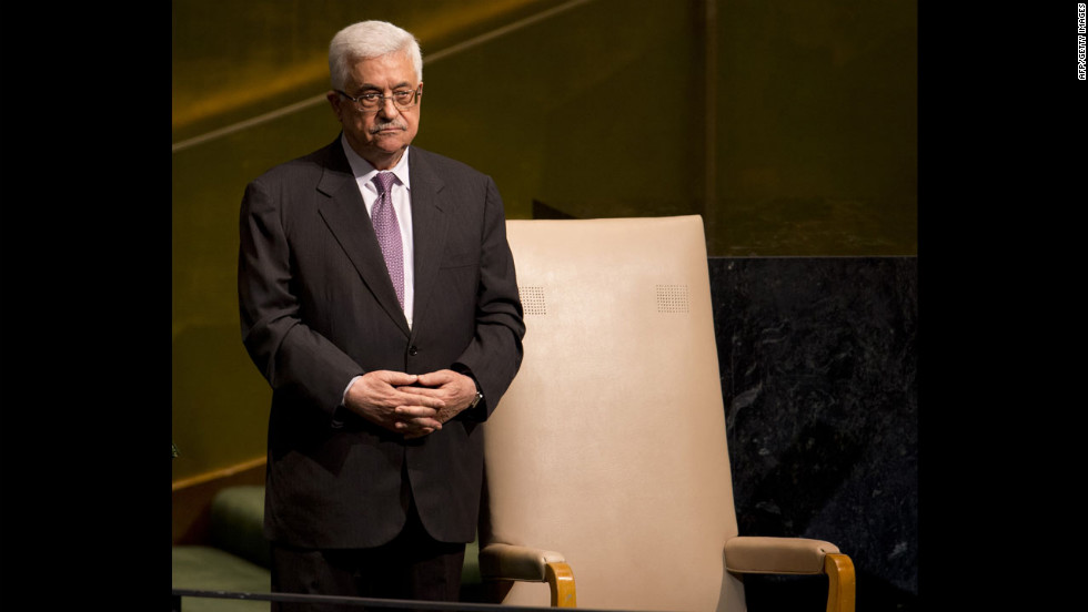 Mahmoud Abbas, chairman of the Executive Committee of the Palestinian Liberation Organization and president of the Palestinian Authority, stands by a chair on Thursday after delivering his address.