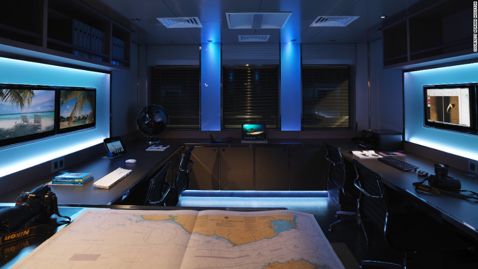 A view of Pegaso's laboratory area on the main deck -- fitted with a range of technology that allows the on board team of scientists to do everything from tracking endangered marine life to studying water pollution levels.