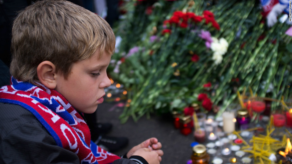 Fans of all ages were left devastated with adults and children left in tears following the crash. Churches across Russia were filled with mourners.