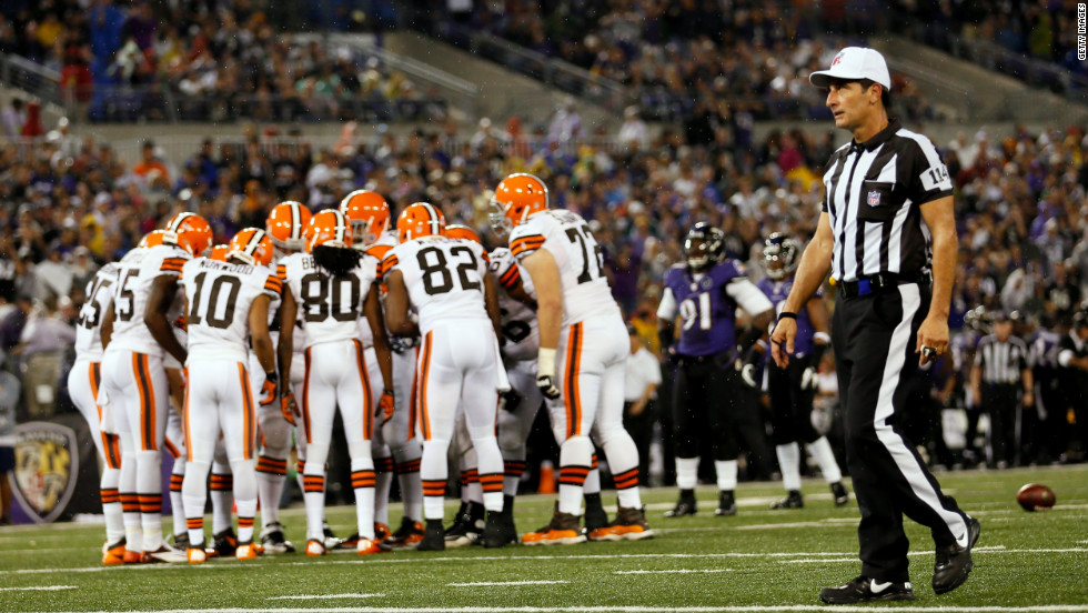 Referee Gene Steratore looks on during Thursday's game between the Browns and Ravens.