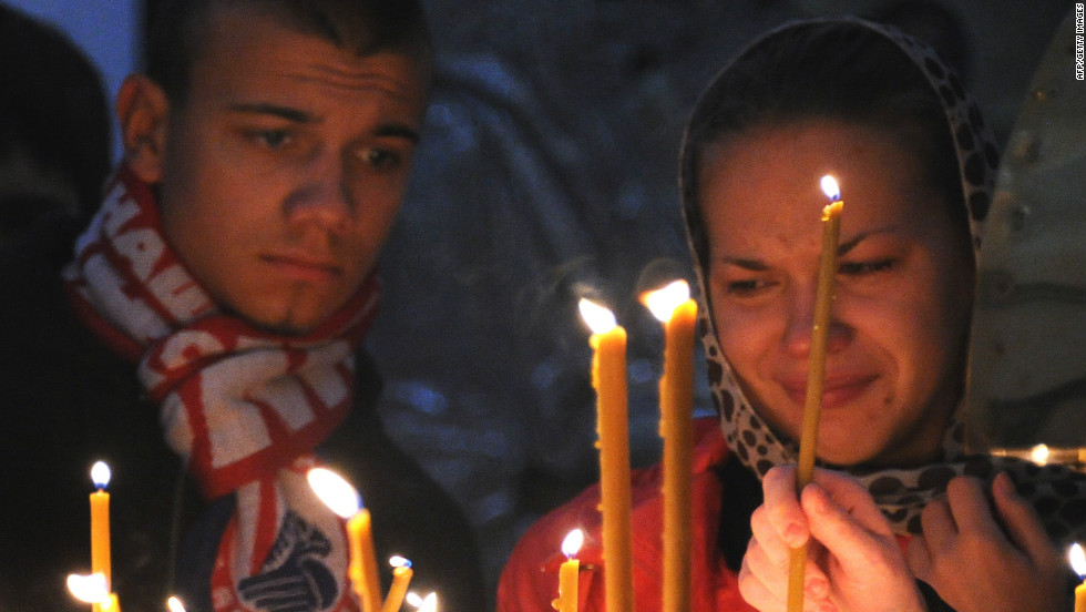 Fans lit candles and held a vigil for the Lokomotiv players who perished in the airplane crash on September 7 2011.