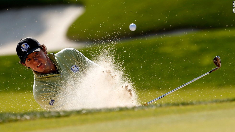 Rory McIlroy of Europe hits a shot onto the green on Friday.