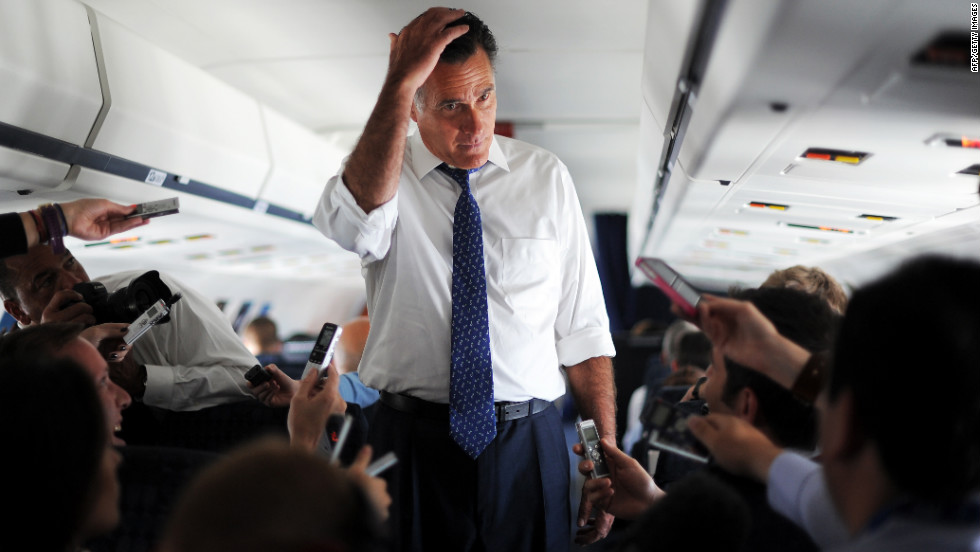 Romney talks to journalists aboard his campaign plane about his phone call with Netanyahu on Friday.