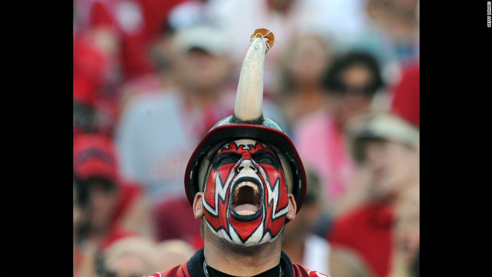A Tampa Bay Buccaneers fan yells after a touchdown Sunday against the Washington Redskins at Raymond James Stadium in Tampa.