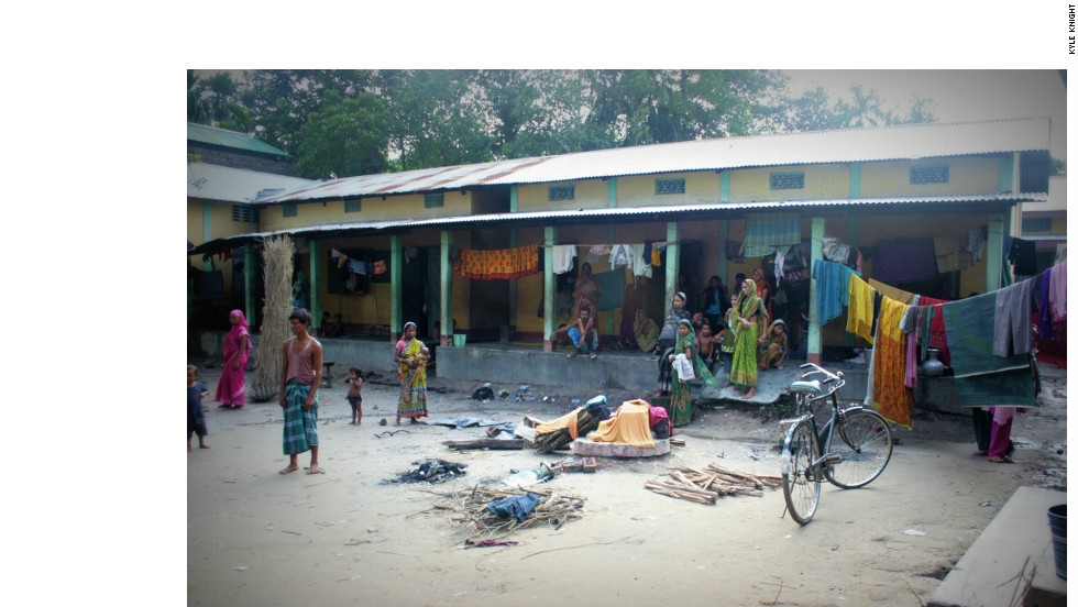 The courtyard of a school being used as an emergency relief camp in Kokrajhar district.