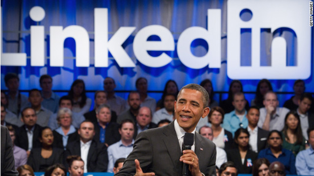 "President Barack Obama, pictured during a LinkedIn town hall last year, is one of 150 ""influencers"" users can now follow."