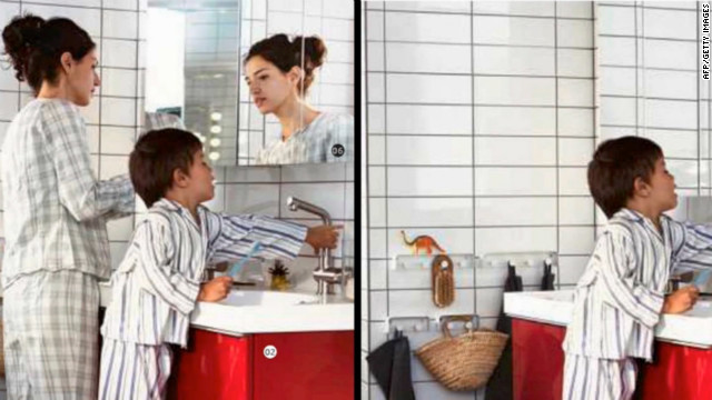 Split screen showing an Ikea catalogue before and after its distribute in their stores in Saudi Arabia.