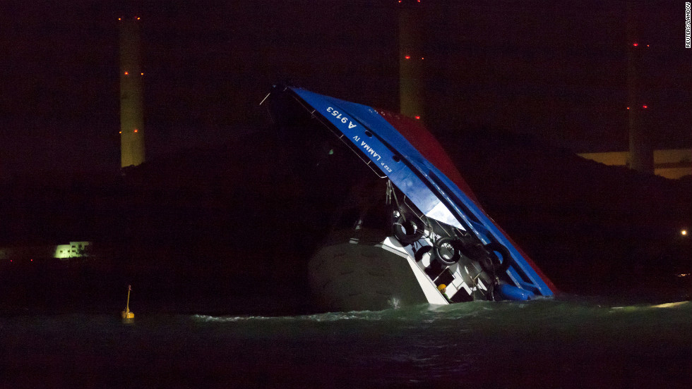 The crash sent dozens of passengers into the water.
