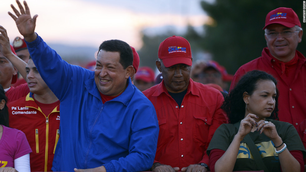 Chavez waves to supporters during a campaign rally in Barquisimeto on Tuesday, October 2.