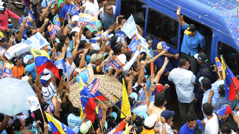 Capriles arrives for a campaign rally in Puerto Ayacucho on Monday.