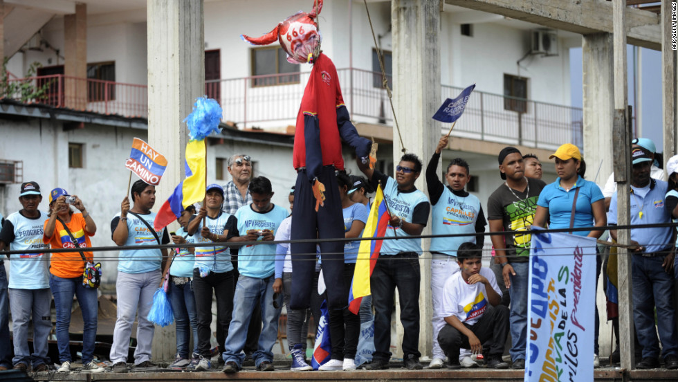 Capriles supporters attend a campaign rally in Puerto Ayacucho on Monday.