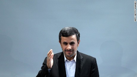 Iranian President Mahmoud Ahmadinejad waves during a press conference in Tehran on October 2, 2012. (Photo credit: ATTA KENARE/AFP/GettyImages)