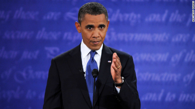 US President Barack Obama speaks during his debate with Republican Presidential candidate Mitt Romney  at Magness Arena at the University of Denver in Denver, Colorado, October 3, 2012. After hundreds of campaign stops, $500 million in mostly negative ads and countless tit-for-tat attacks,  Obama and Romney go head-to-head in their debut debate.